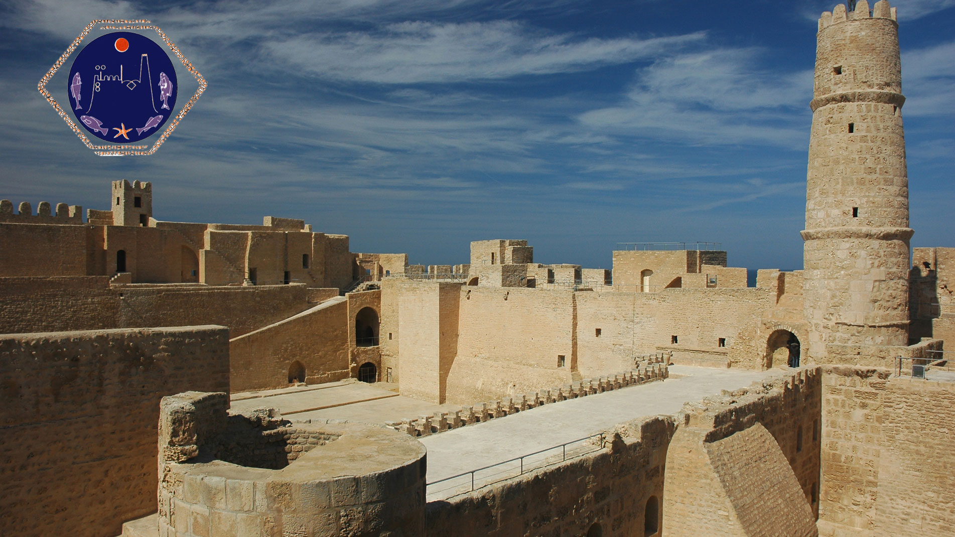 Tunisian imposing fortress located on the edge of the Mediterranean Sea